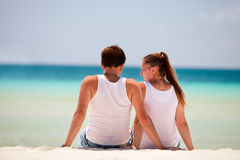 Rear view of couple at beach Royalty Free Stock Photo