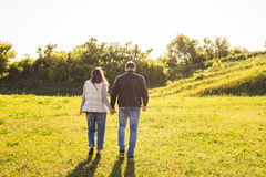 Rear view of couple holding hands walking in autumn countryside Stock Image