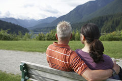 Rear View Of Couple Looking At Country View Royalty Free Stock Images