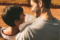 Couple looking at map for navigation Stock Photography