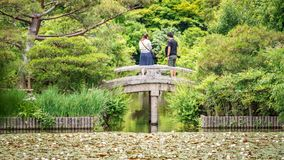 Rear view of couple over stone bridge Royalty Free Stock Image