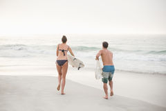 Rear view of couple running with a surfboard on the beach Royalty Free Stock Photography