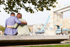 Rear View Of Couple Visiting Tower Bridge In London Royalty Free Stock Images