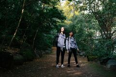 Rear View of Couple Walking in Forest Royalty Free Stock Photography