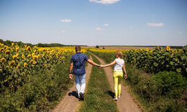Rear view of couple walking in summer countryside Stock Photo