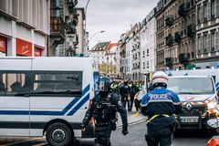 Rear view of CRS French police on street at Yellow Jacket moveme royalty free stock image