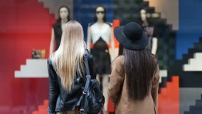 Rear view of cute girls looking at store display. Rear view of shopaholic young women looking at clothing store display outside the shop. Two attractive long stock video