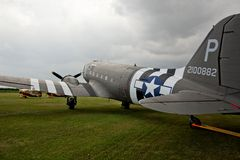 Rear view of Dakota C47 Bomber,at Lincolnshire air show. Stock Photos