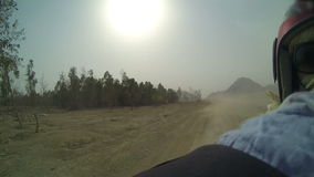 Rear view while driving on quadro motorcycle through Egypt stock video