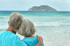 Rear view of elderly couple standing on sandy beach during sunse. T Stock Photography