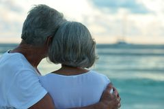 Rear view of elderly couple standing on sandy beach during sunse. T Royalty Free Stock Photography