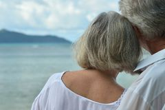 Rear view of elderly couple standing on sandy beach during sunse. T Royalty Free Stock Photos