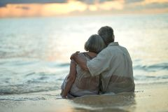 Rear view of elderly couple standing on sandy beach during sunse. T Stock Photo