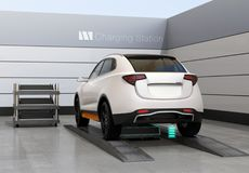 Rear view of electric SUV car exchange battery in battery swapping station. Fast battery exchange solution.  3D rendering image Stock Image