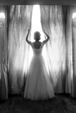 Rear view of elegant bride posing at big window in bedroom Royalty Free Stock Photography