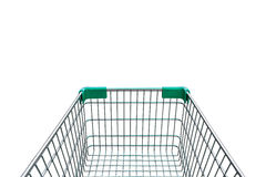 Rear view of empty shopping cart isolated on white background. Rear view of empty shopping cart  on white background Royalty Free Stock Photos
