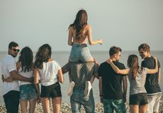 Happy mans and womans walk at the beach Group of friends enjoying beach holidays. Rear view of excited young friends walking on beach. Multiracial group of royalty free stock photo