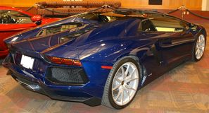 Rear view of Exotic Blue Lamborghini Sports Car Royalty Free Stock Photography