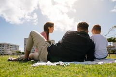 Family out for a picnic in a park Royalty Free Stock Image