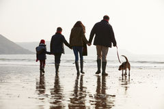 Rear View Of Family Walking Along Winter Beach With Dog Stock Photo