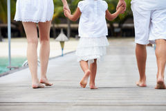 Rear View Of Family Walking On Wooden Jetty Royalty Free Stock Photo