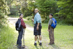 Rear view father and sons hiking in woods on trail Stock Photo
