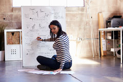 Rear View Of Female Designer Drawing Flow Chart Royalty Free Stock Photography