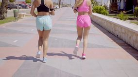 Rear view of female joggers running near wall stock footage
