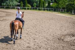 Rear view of female riding a horse in outdoor equestrian arena stock photos