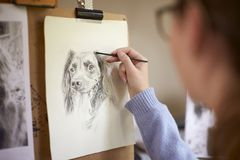 Rear View Of Female Teenage Artist Sitting At Easel Drawing Picture Of Dog From Photograph In Charcoal royalty free stock photos