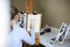 Rear View Of Female Teenage Artist Sitting At Easel Drawing Picture Of Dog From Photograph In Charcoal stock images