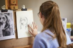 Rear View Of Female Teenage Artist Sitting At Easel Drawing Picture Of Dog From Photograph In Charcoal royalty free stock images