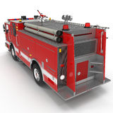 Rear view Fire Engine isolated on white. 3D illustration. Rear view Fire Engine isolated on white background. 3D illustration Royalty Free Stock Image