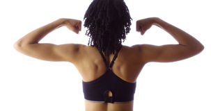 Rear view of fit African woman Royalty Free Stock Photo