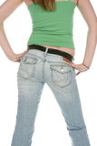 Rear view of fit butt. Rear view of fit behind in jeans Stock Images