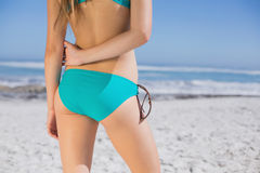 Rear view of fit woman in bikini on beach Stock Photo
