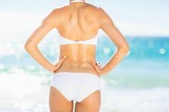 Rear view of fit woman in bikini on beach Stock Image