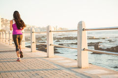 Rear view of fit woman jogging at promenade Stock Photo