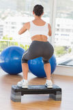 Rear view of a fit young woman exercising on step Stock Image