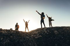 Friends enjoying the view from mountain top Stock Images