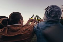 Friends toasting bottles of beer outdoors. Rear view of friends standing on a hilltop toasting bottles of beer. Four friends having fun partying outdoors stock image