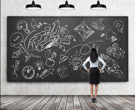 A rear view of a full length brunette lady who is looking at the black chalkboard with the sketched brainstorm process for busines Stock Photos