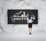 Rear view of full-length woman who is presenting analytical solutions on the black board. Royalty Free Stock Photos