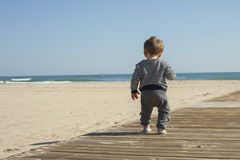 Rear view full shot baby boy walking in the beach. Stock Image