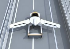 Rear view of futuristic flying car takes off from highway. Fast transportation without traffic jam concept. 3D rendering image royalty free illustration