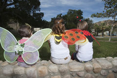 Rear View Of Girls With Wings Sitting On Stonewall Royalty Free Stock Photography