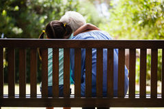 Rear view of granddaughter with arm around grandmother sitting on wooden bench Stock Image