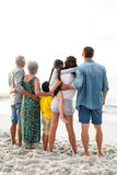 Rear view of a happy family posing at the beach stock photos