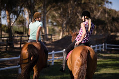 Rear view of happy female friends horseback riding Royalty Free Stock Photo
