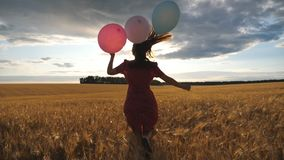 Rear view of happy girl in red dress running through golden wheat field with balloons in hand at sunset. Young woman. With brown hair having fun while jogging stock video footage